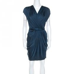 Catherine Malandrino Navy Blue Silk Jersey Twisted Draped Dress S