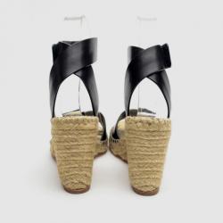 Celine Black Leather Espadrilles Wedge Sandals Size 37