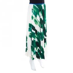 Celine Cream and Green Brushstroke Printed Silk Plisse Midi Skirt M