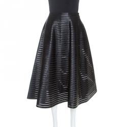 Celine Black Ribbon Striped Satin and Sheer Flared Midi Skirt S