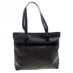 Celine Black/Brown Macadam Coated Canvas Shopping Tote