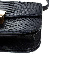 Celine Black Python Medium Classic Box Shoulder Bag