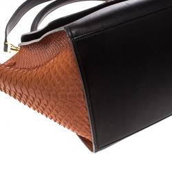 Celine Copper/Black Python and Leather Medium Trapeze Bag
