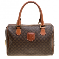 3ee36b4782 Céline Brown Macadam Coated Canvas Boston Bag