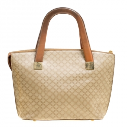 1b82e2b4c23 Celine Beige Brown Coated Canvas and Leather Macadam Zip Tote
