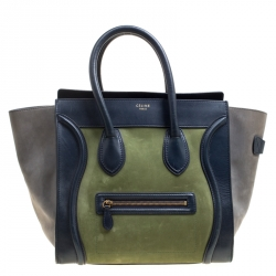 ee156443fe95 Celine Tri Color Leather and Nubuck Leather Mini Luggage Tote