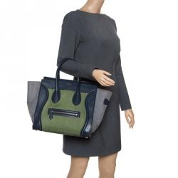 4c5e81671cf4 Celine Tri Color Leather and Nubuck Leather Mini Luggage Tote