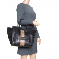 ad2f0153962a Celine Black Python and Suede Mini Luggage Tote