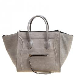 188076b16580 Celine Grey Croc Embossed Leather Small Phantom Luggage Tote