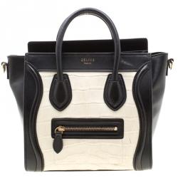 Celine Black/White Alligator and Leather Nano Luggage Tote
