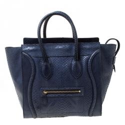 Celine Navy Blue Python Leather Mini Luggage Tote