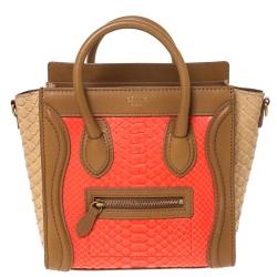 Celine Tri Color Python and Leather Nano Luggage Tote