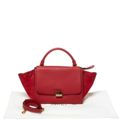 Celine Red Leather and Suede Small Trapeze Bag