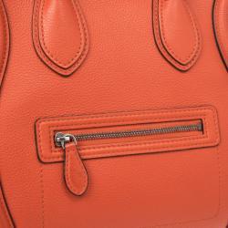 Celine Lipstick Red Buffalo Leather Mini Luggage Tote