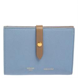 Celine Blue/Brown Leather Multifunction Strap Wallet