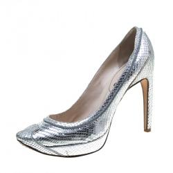 6eaf47c215ff Celine Metallic Silver Python Embossed Leather Platform Pumps Size 40