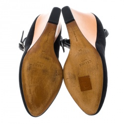 Cèline Black Suede Color Block Wedge Ankle Strap Pumps Size 38