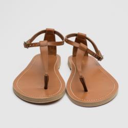 Celine Brown Leather Ankle Strap Flat Sandals Size 38