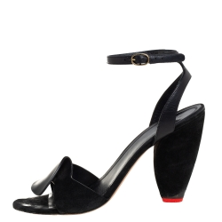 Celine Black Leather And Suede Ankle Strap Sandals Size 41