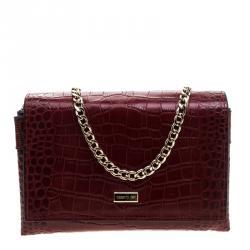Cerruti 1881 Red Crocodile Embossed Leather Chain Shoulder Bag