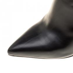 حذاء بوت تشيزاري باشوتي مرتفع للركبة تفاصيل خنجر جلد أسود مقاس 40