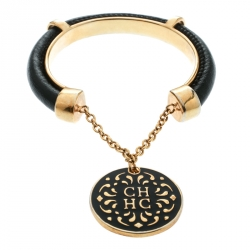 CH Carolina Herrera Black Leather Gold Tone Charm Cuff Bracelet