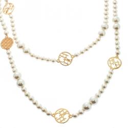 CH Carolina Herrera Faux Pearl Gold Tone Long Station Necklace