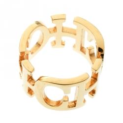 CH Carolina Herrera Gold Tone Band Ring Size 53