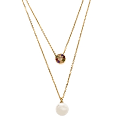 CH Carolina Herrera Multicolor Crystal Faux Pearl Gold Tone Layered Necklace