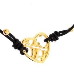 CH Carolina Herrera Brown Leather Heart Motif Gold Tone Adjustable Bracelet