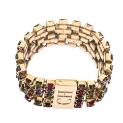 CH Carolina Herrera Multicolor Crystal Gold Tone Band Ring Size 58