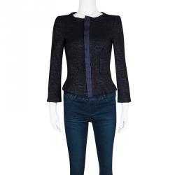 41ee5ae7bd124 CH Carolina Herrera Navy Blue Textured Lurex Knit Cropped Jacket M