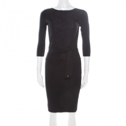 b150c3aa27f3 CH Carolina Herrera Black Knit Floral Lace Overlay Long Sleeve Belted Dress  S