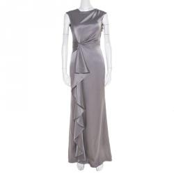 1ee567e1fe CH Carolina Herrera Grey Silk Satin Sleeveless Ruched Maxi Dress XS