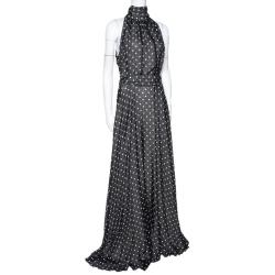CH Carolina Herrera Monochrome Polka Dot Silk Belted Maxi Dress L