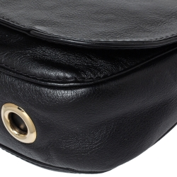 Carolina Herrera Black Leather Flap Shoulder Bag