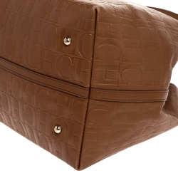 Carolina Herrera Brown Monogram Leather Matryoshka Tote