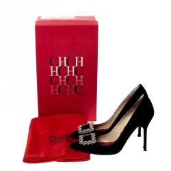 Carolina Herrera Black Suede Crystal Embellished Pointed Toe Pumps Size 37