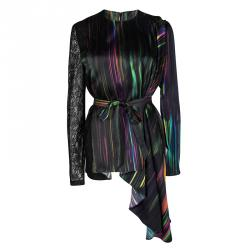 Chalayan Multicolor Striped Lace Sleeve Panel Detail Belted Robe Top L