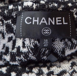 Chanel Monochrome Cotton Terry Roll Collar Cape Coat M