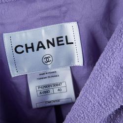 Chanel Lavender Wool Skirt Suit M