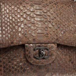 Chanel Gold Python Jumbo Double Flap Bag