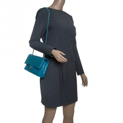 Chanel Turquoise Quilted Patent Leather Small Chevron Classic Double Flap Bag