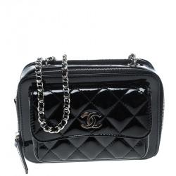 Chanel Black Quilted Patent Leather Mini Camera Pocket Box Case Shoulder Bag