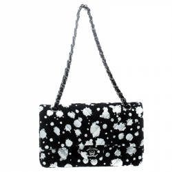 Chanel Black White Splatter Paint Tweed Medium Classic Double Flap Bag 794dac1d390b4