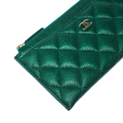 Chanel Green Quilted Leather Phone Wallet