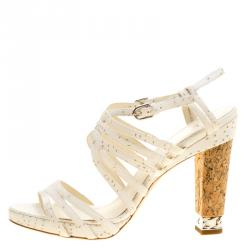 48616c07461 Chanel White Leather Chain Embellished Cork Heel Strappy Sandals Size 41.5