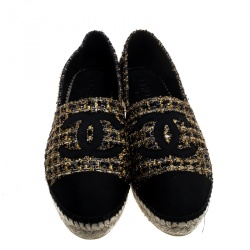 Chanel Two Tone Metallic Tweed And Grosgrain CC Espadrilles Size 40