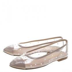 Chanel Beige Patent Leather and Clear Vinyl Pearl Studded CC Ballet Flats Size 38