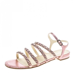 a2d15b8c4 Chanel Metallic Pink Polka Dot Print Leather Chain Detail Ankle Strap Flat  Sandals Size 41